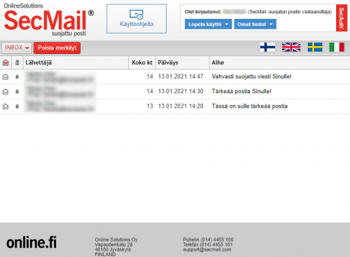 Linkki avautuu SecMail -verkkopalveluun, josta löydät käyttöohjeita, voit vaihtaa kieltä sekä hallita saamiasi ja lähettämiäsi viestejä.