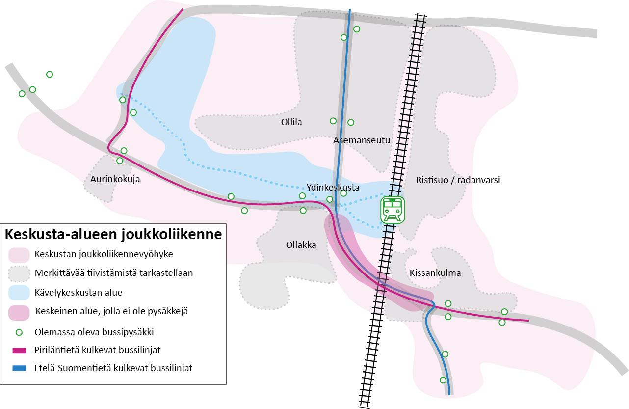 Teemakarttakuva, jossa esitetty Kempeleen keskustan alueen joukkoliikennevyöhyke ja joukkoliikennereitit pysäkkeineen.