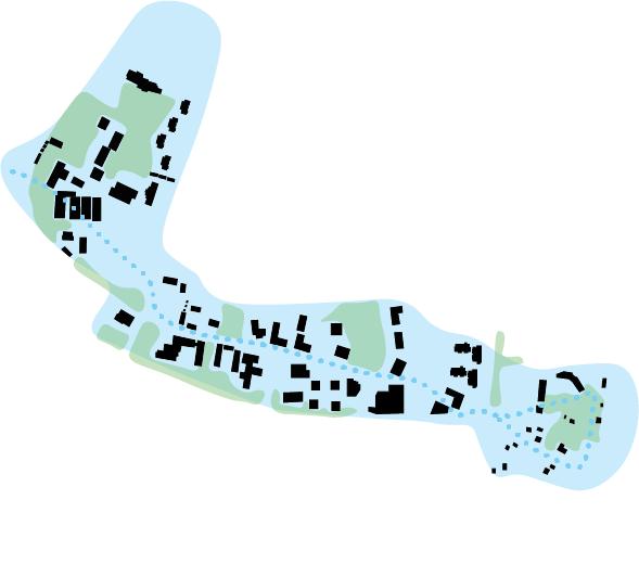 Teemakartta, jossa kävelyvyöhyke sinisellä, viheralueet vihreällä ja rakeisuus mustalla.