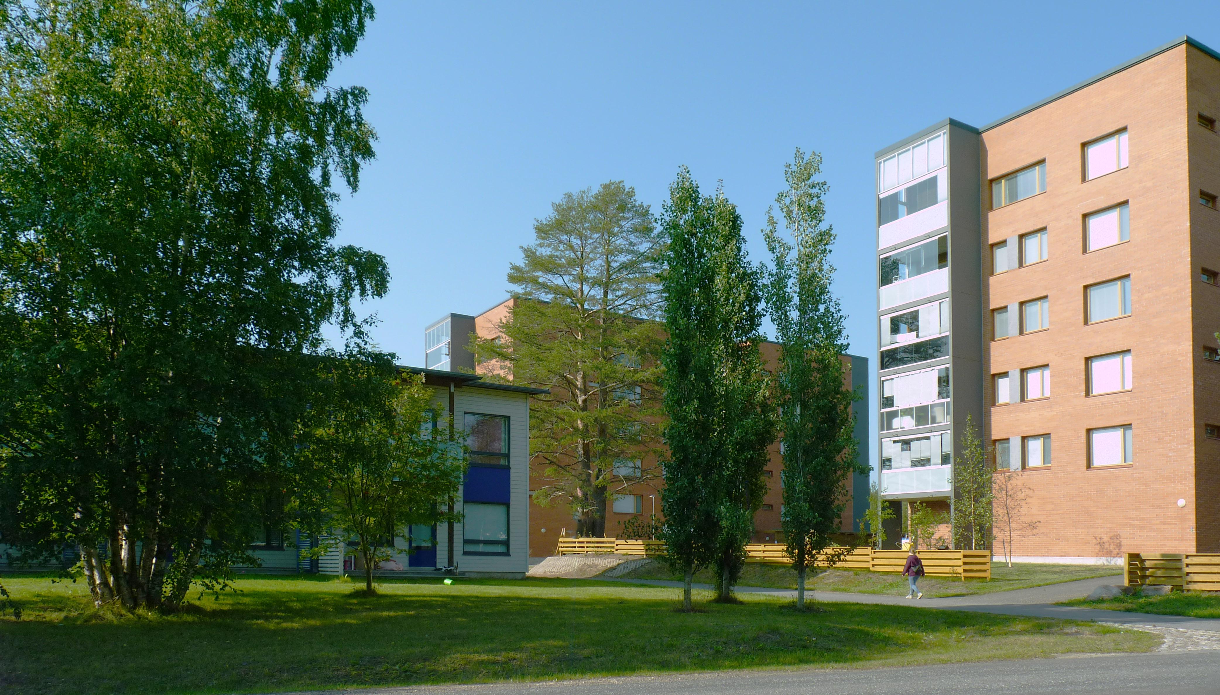 Näkymä Ollakantieltä kerrostalojen ja luhtitalojen suuntaan. Näkymässä myös puustoa, nurmea ja kävelytie.