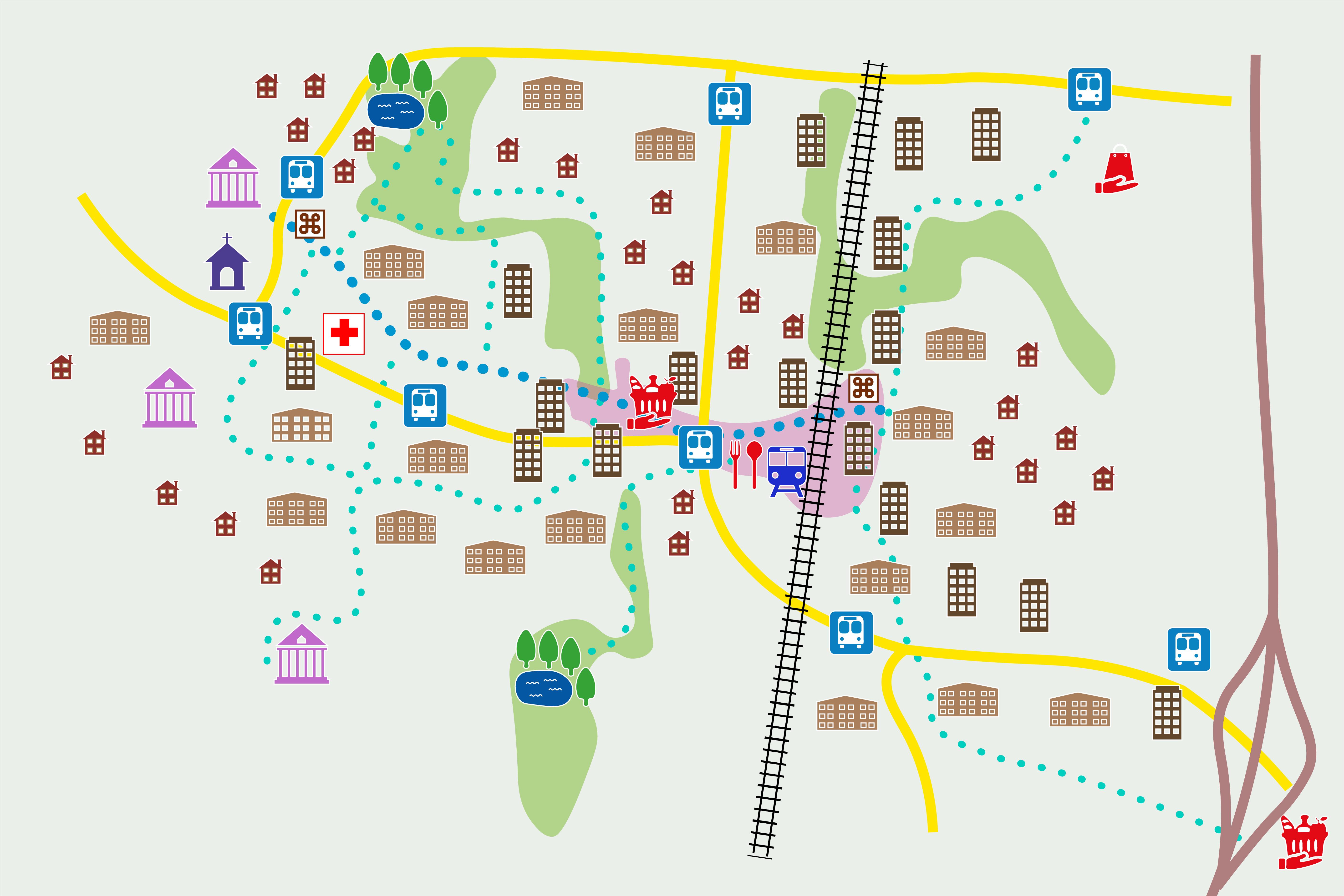Pelkistetty teemakarttakuva, jossa liikenneyhteydet ja viheralueet sekä tärkeimmät palvelut ja asumisen luonne symbolein.