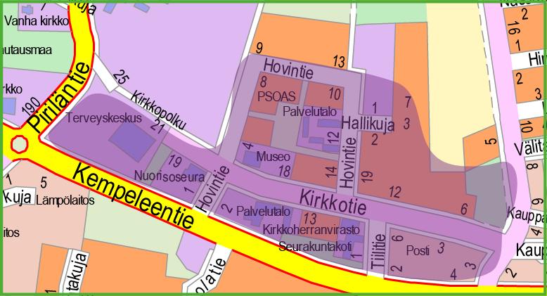 Kartta, jossa violetilla väritetty korttelit Kirkkotien molemmin puolin sekä terveyskeskuksen alue.