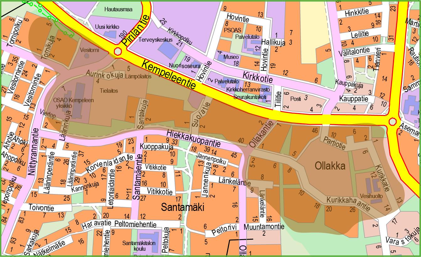 Kartta, jossa ruskealla väritetty Kempeleentien eteläpuoli Hiekkakuopantiehen saakka sekä Ollakka.