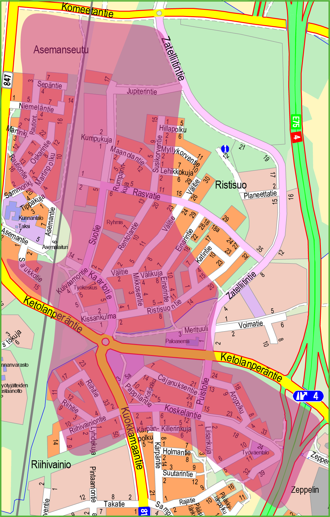 Kartta, jossa pinkillä väritetty Suuri osa Asemanseudusta ja Ristisuosta.