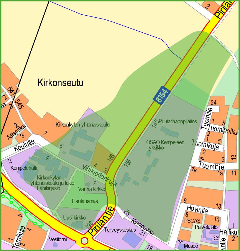 Kartta, jossa vihreällä väritetty Pirilän, Kirkon sekä Piriläntien varren alueet.